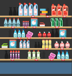Cleaner on a shelf in a supermarket vector