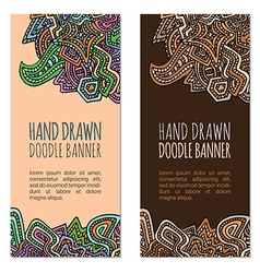 colored hand drawn doodle banner templates vector image
