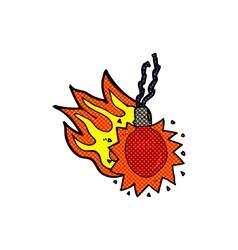 comic cartoon red hot light bulb vector image