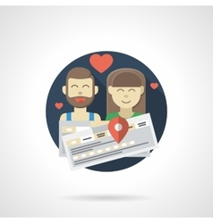Couple travel color detailed icon vector image
