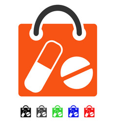 Drugs shopping bag flat icon vector