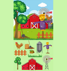 farm background with scarecrow and barn vector image vector image