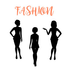Fashion woman silhouette in tight dresses vector