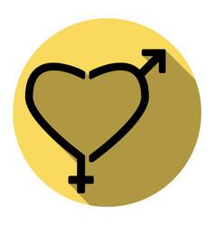 gender signs in heart shape flat black vector image vector image