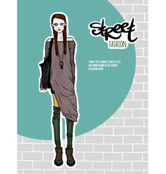girl street fashion look vector image vector image