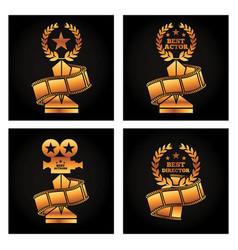 Gold trophies award best director vector