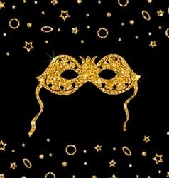 Golden Shimmering Carnival Mask vector image