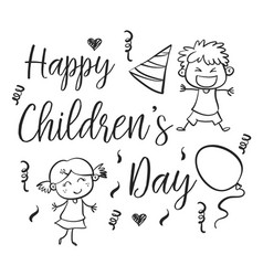 happy childrens day with kid character vector image vector image
