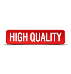 High quality red 3d square button on white vector