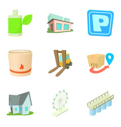 infrastructure maintenance icons set cartoon vector image