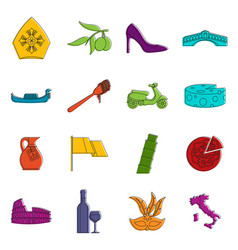 Italia icons doodle set vector