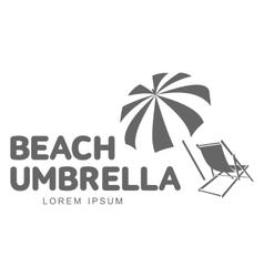 Logo template with beach umbrella and sun bathing vector image vector image