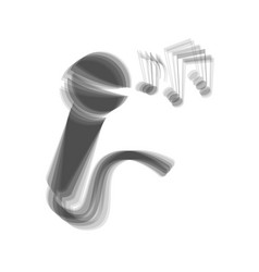 Microphone sign with music notes gray vector