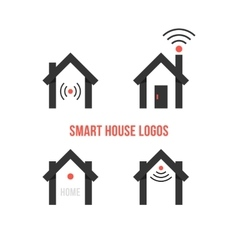 set of four black smart house logos vector image vector image