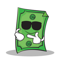 super cool dollar character cartoon style vector image