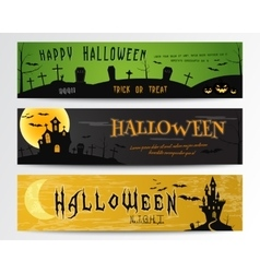 Three Halloween banners Green dark and orange vector image