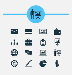 Trade icons set collection of payment work man vector