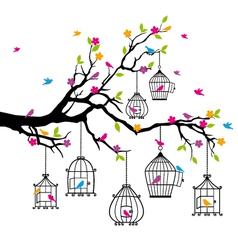 Tree with birds and birdcages vector
