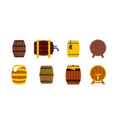wood barrel icon set flat style vector image