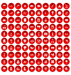 100 global warming icons set red vector