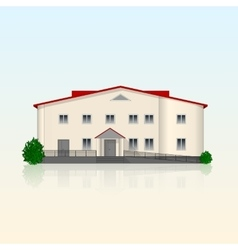 Realistic separately standing office building with vector