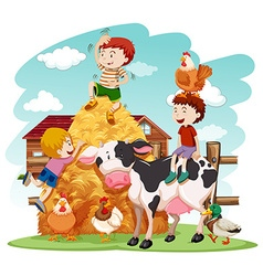 Kids playing with farm animals in field vector