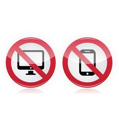 No computer no mobile or cell phone sign vector image
