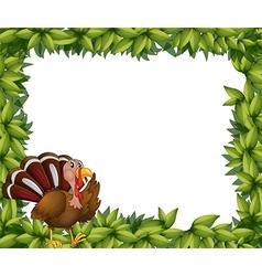 A green frame border with a turkey vector