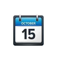 October 15 calendar icon flat vector