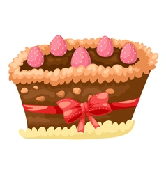 cake chocolate with strawberry vector image