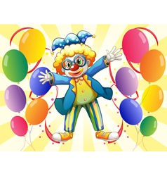A clown with colorful party balloons vector image