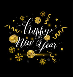 Calligraphic happy new year with snowflakes vector