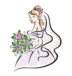 Bride with flowers vector