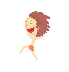 Happy smiling cartoon boy in red shorts running vector