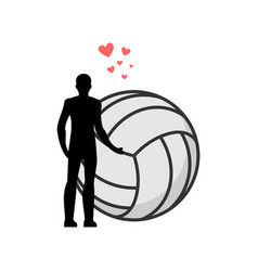 Lover volleyball man and ball love sport game vector