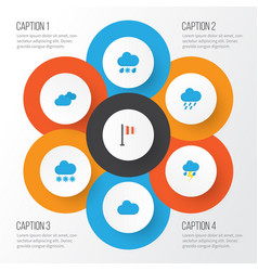 Climate flat icons set collection of cloud snow vector