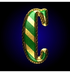 Golden and green letter c vector