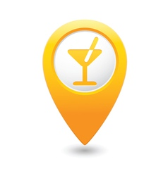 Cocktail icon yellow map pointer vector