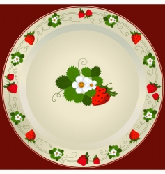 plate with strawberries vector image