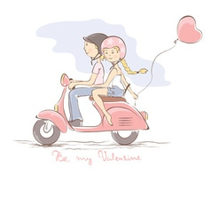 Loving couple on a scooter vector