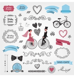 Set of vintage wedding vector