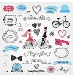 set of vintage wedding vector image