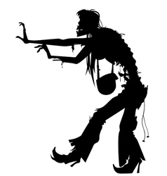 Walking woman zombie silhouette vector