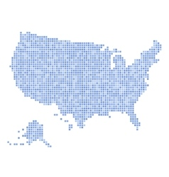 Blue dotted usa map on white background vector