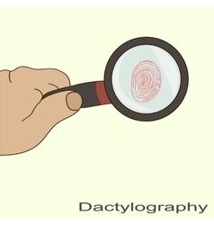 dactyloscopy fingerprint magnifier vector image