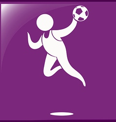 Handball icon on purple background vector