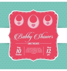 Bib of baby shower card design vector