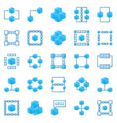blockchain colorful icons bright block vector image