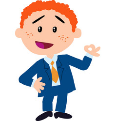 Boy dressed like a businessman doing ok sign vector