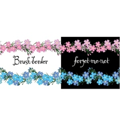 Brush border of flowers forget me not vector